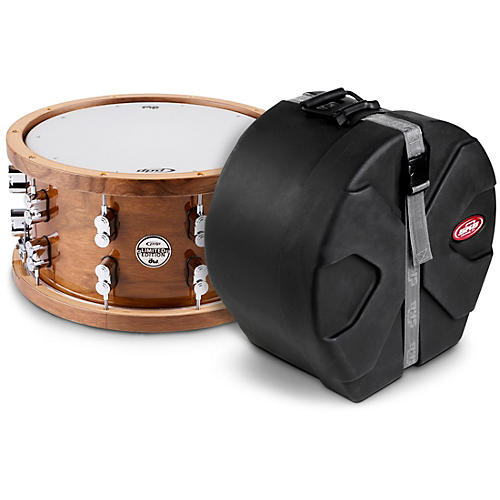 PDP by DW Limited Edition Dark Stain Walnut and Maple Snare with Walnut Hoops and Chrome Hardware and SKB Case