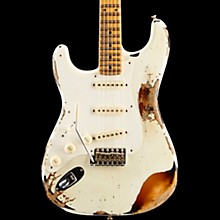 Limited Edition Heavy Relic Mischief Maker Maple Fingerboard Left-Handed Electric Guitar Olympic White over 3-Color Sunburst