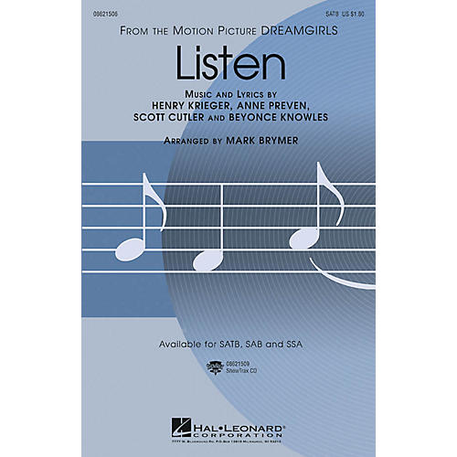 Hal Leonard Listen (from Dreamgirls) SATB by Beyoncé arranged by Mark Brymer