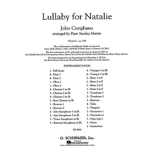 G. Schirmer Lullaby for Natalie Concert Band Level 5 Composed by John Corigliano