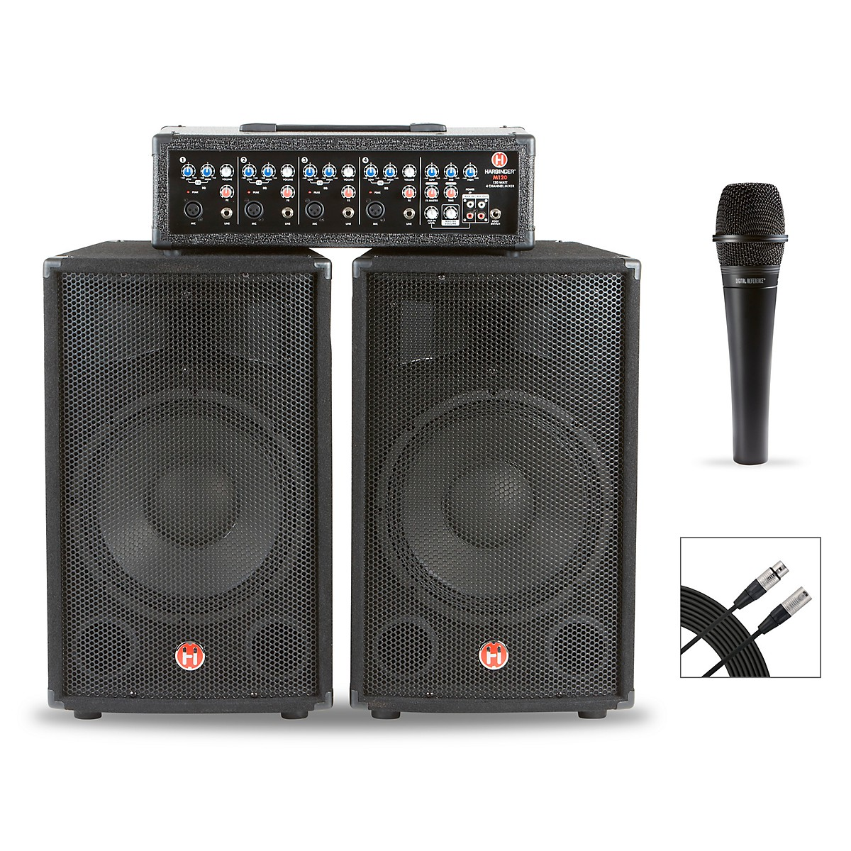 Harbinger M120 120W, 4-Channel Compact Portable PA With Mic and Cable Bundle