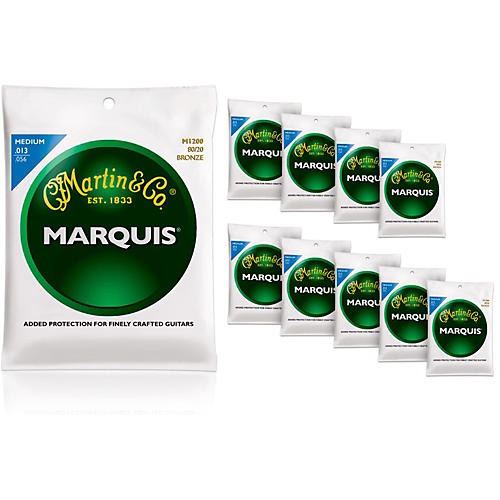 Martin M1200 Marquis 80/20 Bronze Medium 10-Pack Acoustic Guitar Strings