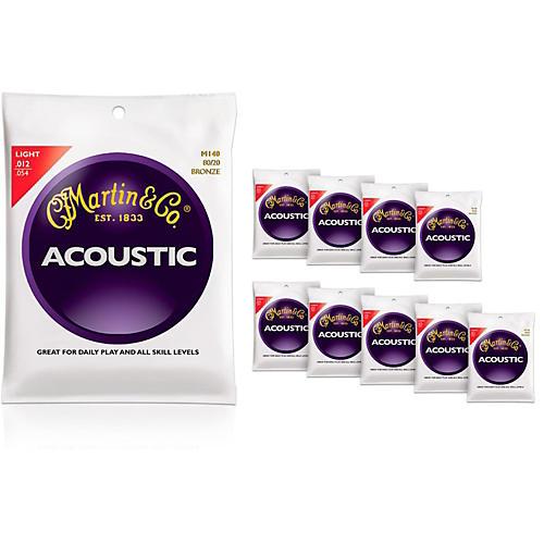 Martin M140 80/20 Bronze Light 10-Pack Acoustic Guitar Strings