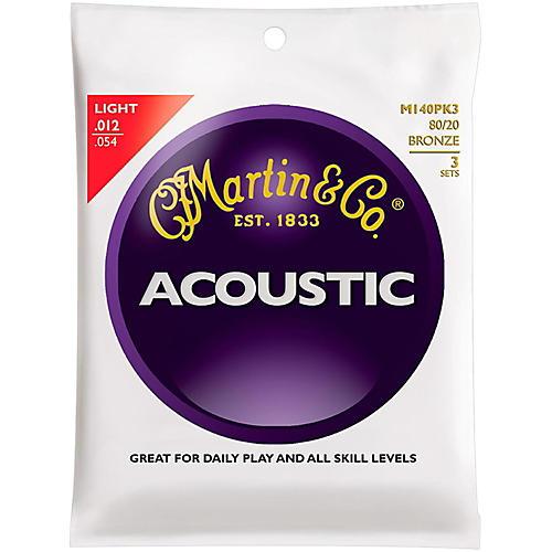 Martin M140 80/20 Bronze Light 3-Pack Acoustic Guitar Strings
