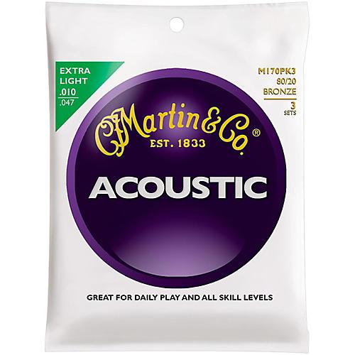 Martin M170 80/20 Bronze Extra Light 3-Pack Acoustic Guitar Strings