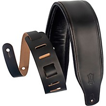 M26PD 3 inch Wide Top Grain Leather Guitar Straps Black