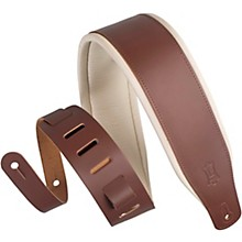 M26PD 3 inch Wide Top Grain Leather Guitar Straps Brown Cream