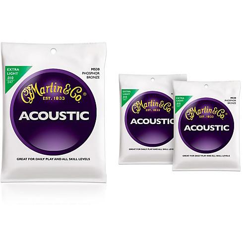 Martin M530 Phosphor Bronze Extra Light 3-Pack Acoustic Guitar Strings