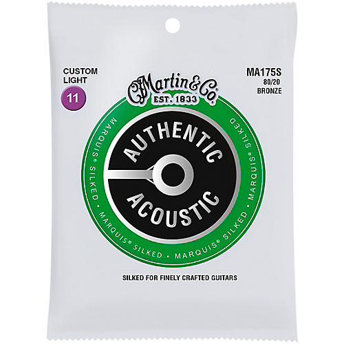Martin MA175S Marquis 80/20 Bronze Custom-Light Authentic Acoustic Silked Guitar Strings