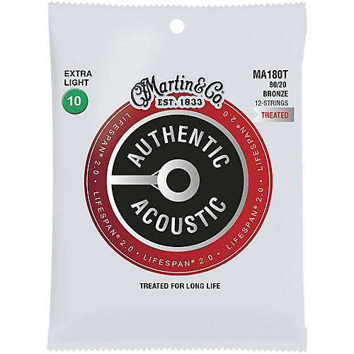 Martin MA180T Lifespan 2.0 12-String 80/20 Bronze Extra-Light Authentic Acoustic Guitar Strings