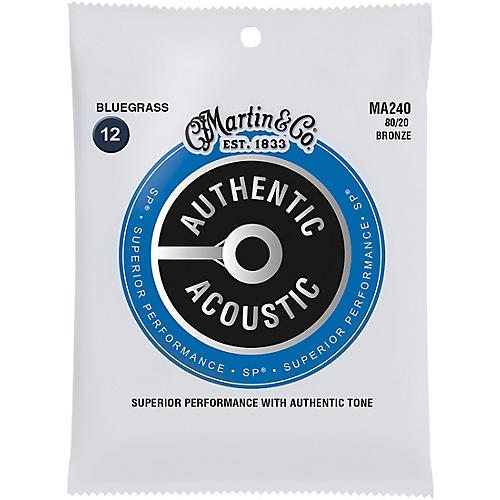 Martin MA240 SP 80/20 Bronze Bluegrass Authentic Acoustic Guitar Strings