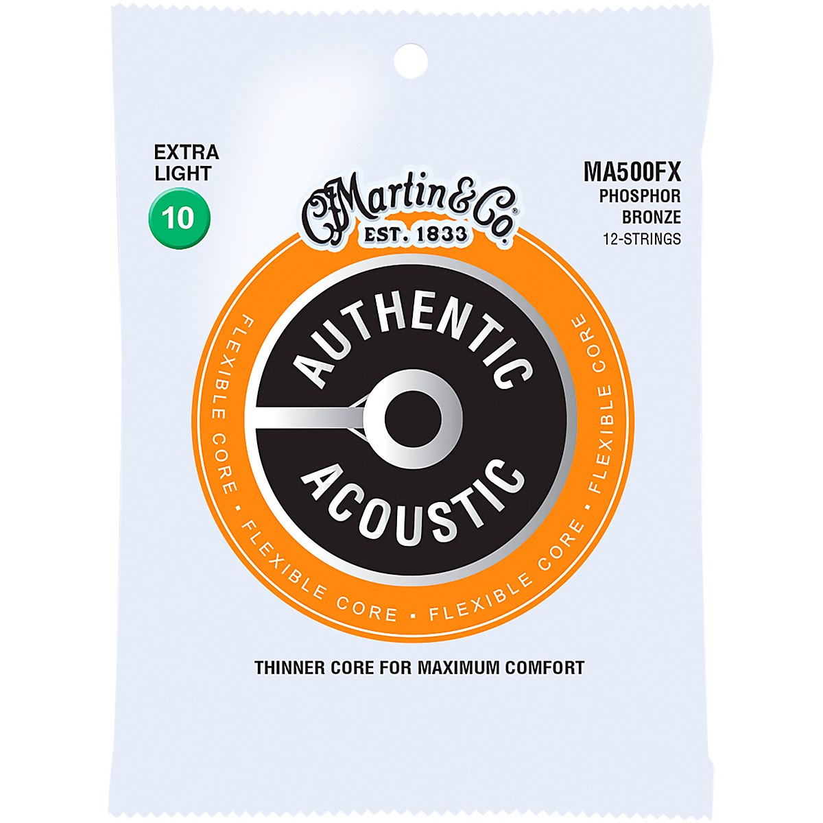 Martin MA500FX Authentic Acoustic Flexible Core 12-String Phosphor Bronze Light Guitar Strings