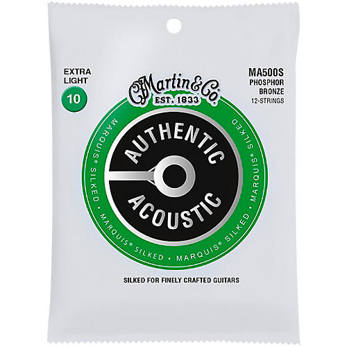 Martin MA500S Marquis 12-String Phosphor Bronze Extra-Light Authentic Silked Acoustic Guitar Strings