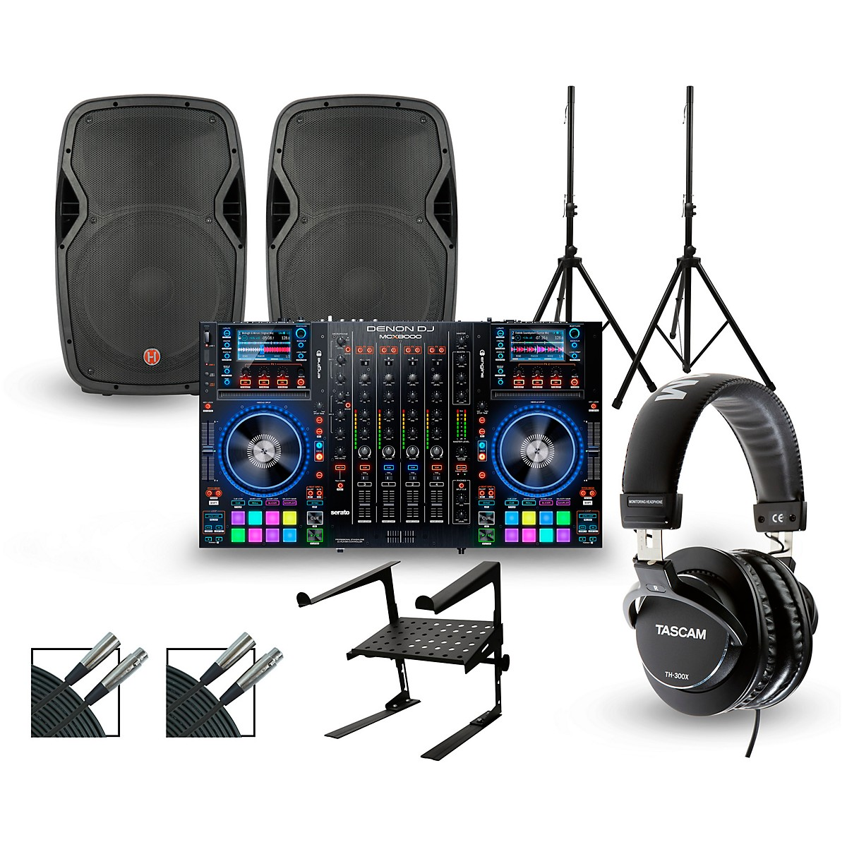 Denon DJ MCX8000 with Harbinger V1015 DJ Package