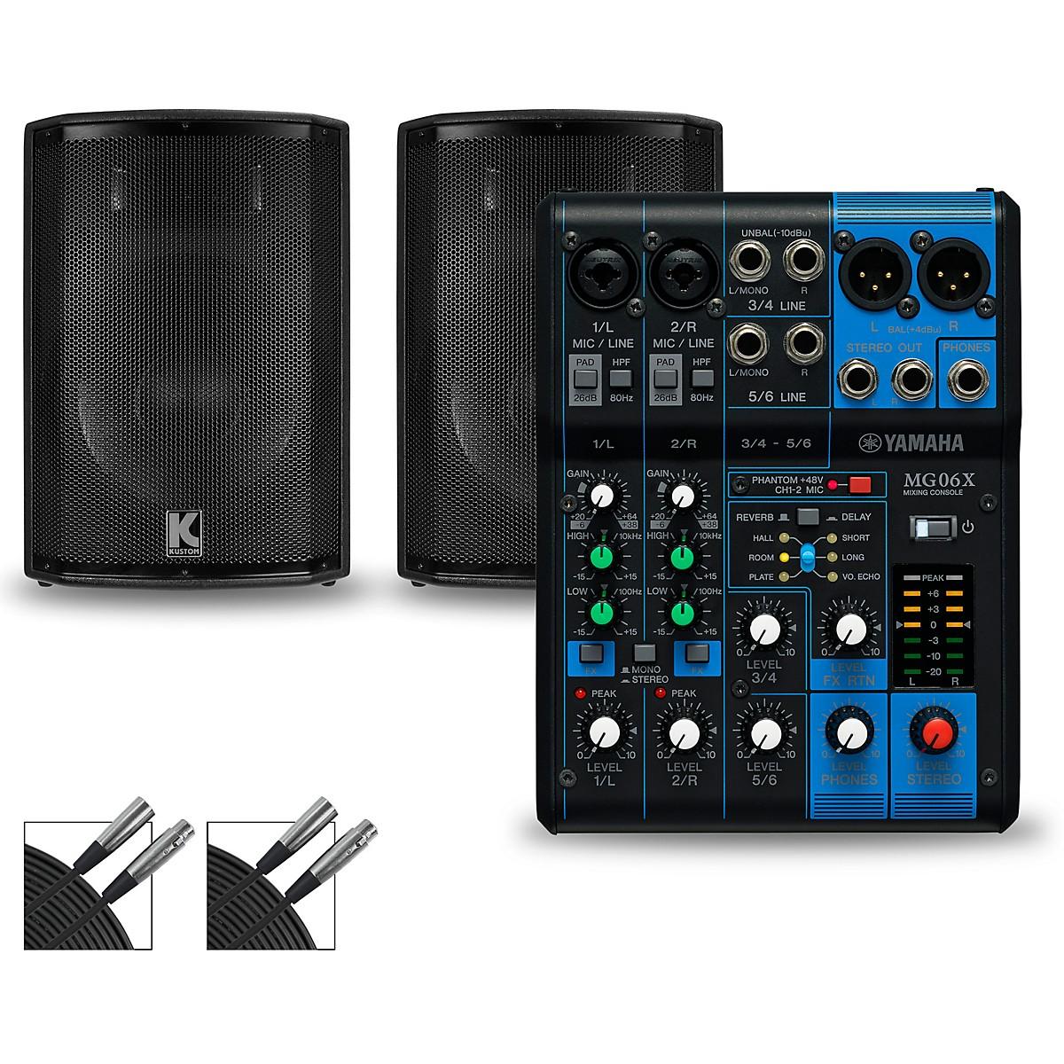 Yamaha MG06X Mixer and Kustom HiPAC Speakers