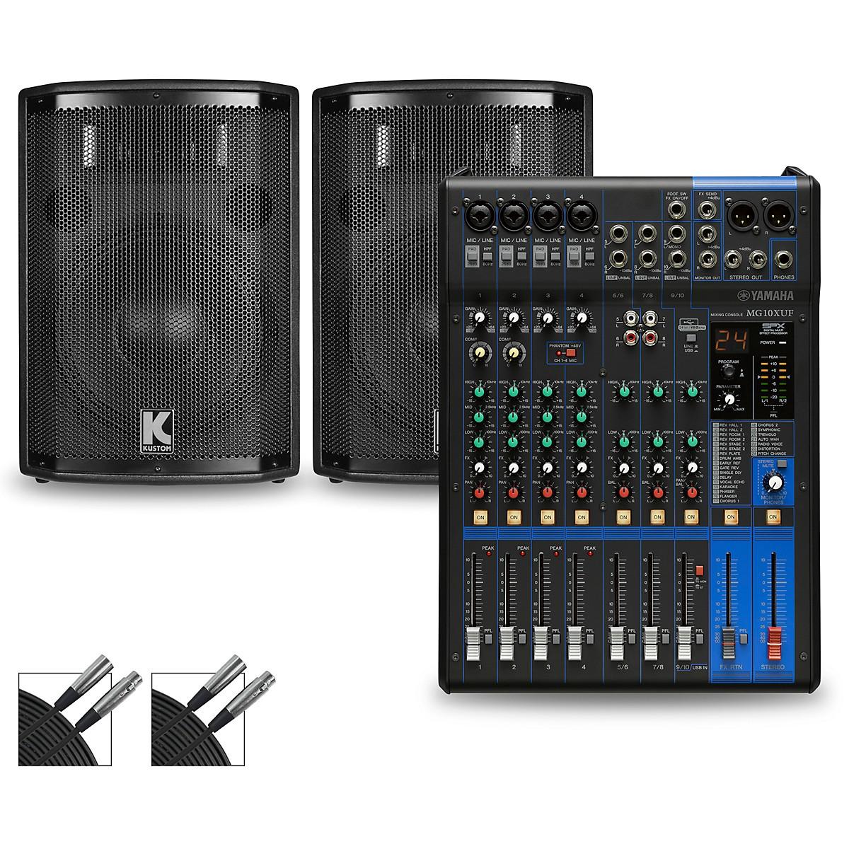 Yamaha MG10XUF Mixer and Kustom HiPAC Speakers