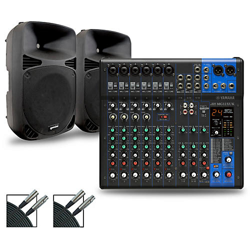 Yamaha MG12XUK Mixer with Gemini HPS BLU Speakers