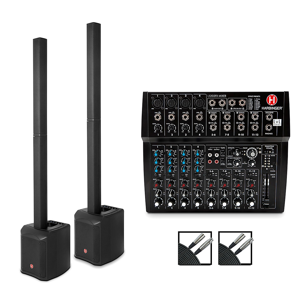 Harbinger MLS900 Personal Line Array Pair with Harbinger L1202 Mixer and Cables