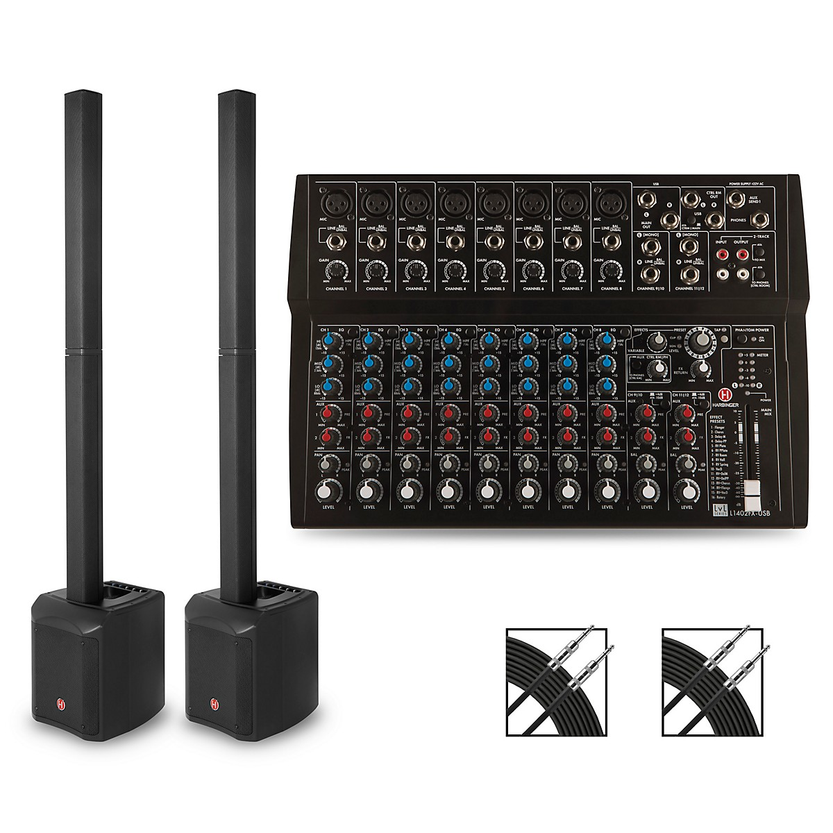 Harbinger MLS900 Personal Line Array Pair with Harbinger L1402 Mixer and Cables