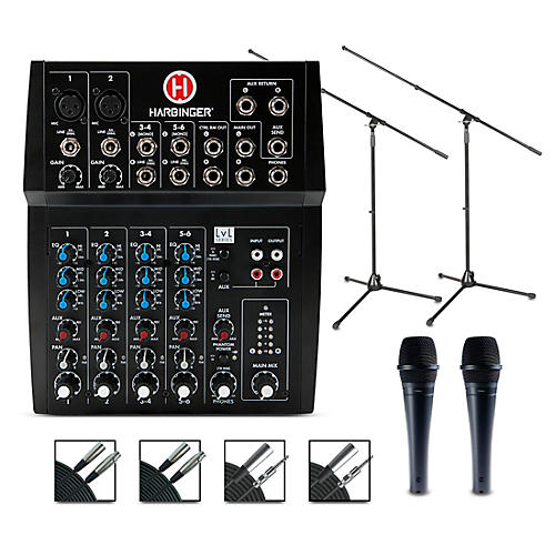 Harbinger MLS900 Personal Line Array Pair with Harbinger L802 Mixer and Cables Mics and Stands
