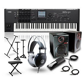 Yamaha MOTIF XF7 76-Key Music Production Synth w/ RPM3 Monitors, Stand,  Headphones, Bench, Sustain Pedal