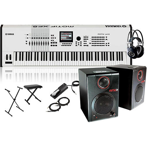 Yamaha MOTIF XF8 White 88-Key Music Production Synth w/ RPM3 Monitors, Stand, Headphones, Bench & Pedal