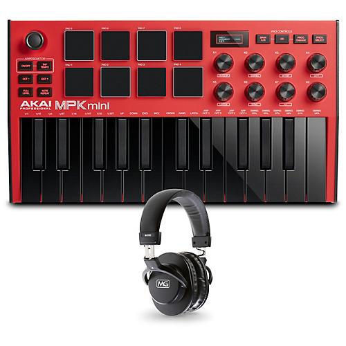 Akai Professional MPK Mini MK3 Red Keyboard Controller and Headphones