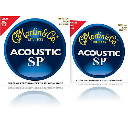 Martin MSP3100 SP 80/20 Bronze Light 2-Pack Acoustic Guitar Strings