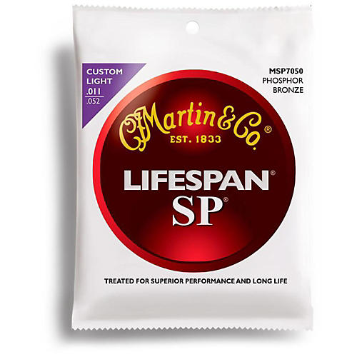 Martin MSP7050 SP Lifespan Phosphor BronzeCustom Light Acoustic Guitar Strings