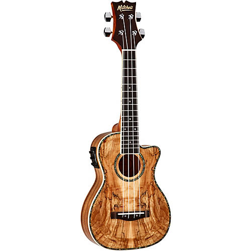 Mitchell MU80X-CE-SM Exotic Acoustic Electric Cutaway Ukulele Spalted Maple