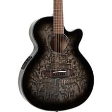 MX430-QAB-NAT Exotic Series Acoustic-Electric Quilted Ash Burl Midnight Black Edge Burst