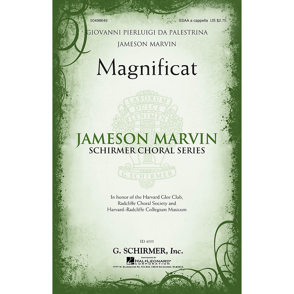 G. Schirmer Magnificat (Jameson Marvin Choral Series) SSAA A Cappella arranged by Jameson Marvin