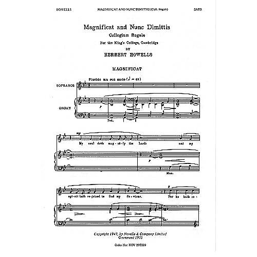 Novello Magnificat and Nunc Dimittis (Collegium Regale) SATB Composed by Herbert Howells