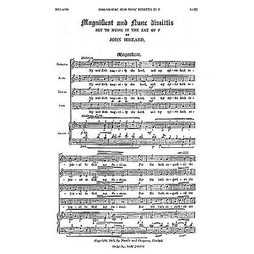 Novello Magnificat and Nunc Dimittis in F SATB Composed by John Ireland