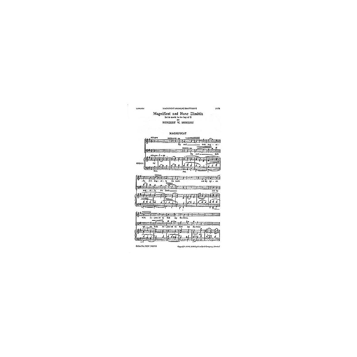 Novello Magnificat and Nunc Dimittis in G SATB Composed by Herbert Sumsion