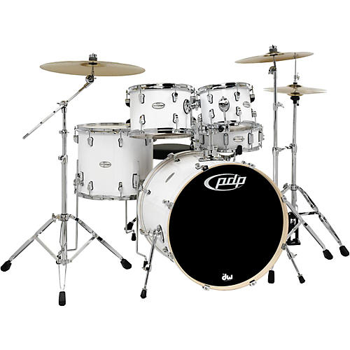 pdp by dw mainstage 5 piece drum set w hardware and paiste cymbals white guitar center. Black Bedroom Furniture Sets. Home Design Ideas