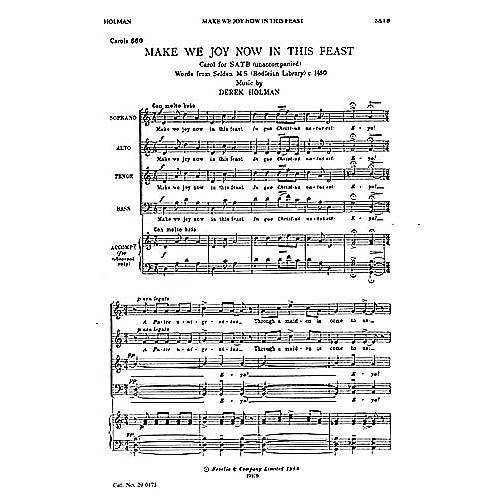 Novello Make We Joy Now in This Feast SATB Composed by Derek Holman