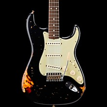 Masterbuilt Dennis Galuszka '60s Relic Stratocaster Brazilian Rosewood Neck Electric Guitar Black over 3-Color Sunburst