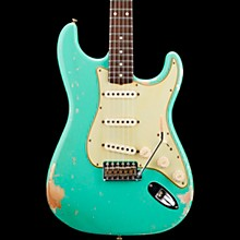 Masterbuilt Dennis Galuszka '60s Relic Stratocaster Brazilian Rosewood Neck Electric Guitar Sea Foam Green over Aztec Gold
