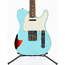 Masterbuilt Dennis Galuszka '60s Telecaster Relic Brazilian Rosewood Neck Electric Guitar Daphne Blue over 3-Color Sunburst
