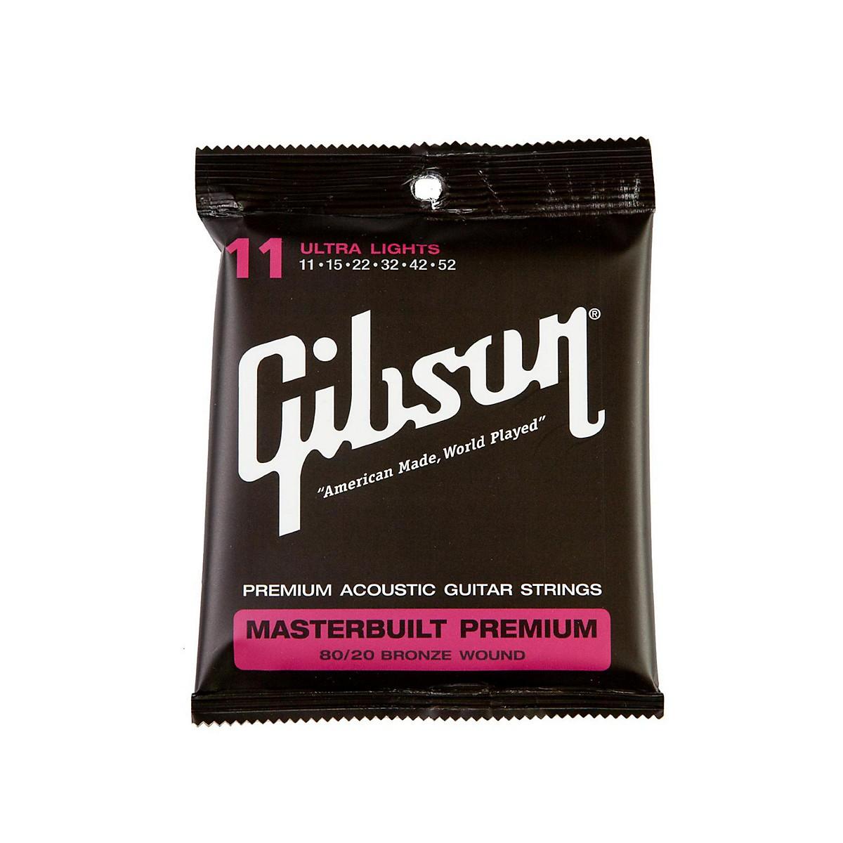 Gibson Masterbuilt Premium 80/20 Bronze Ultra Light Acoustic Guitar Strings
