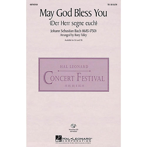 Hal Leonard May God Bless You (Der Herr segne euch) SA Arranged by Barry Talley