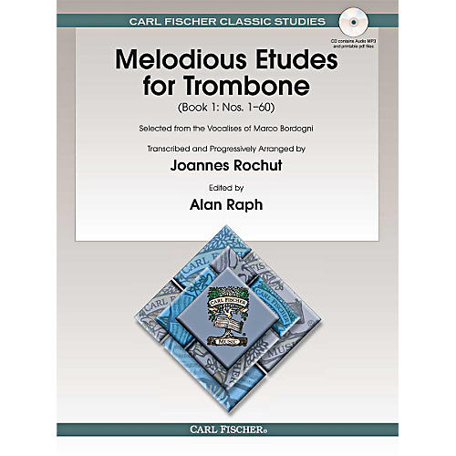 Carl Fischer Melodious Etudes for Trombone (Book/Online Audio) - Joannes Rochut, Book 1