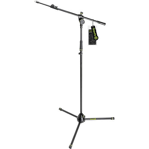 Gravity Stands Microphone Stand With Folding Tripod Base And 2-Point Adjustment Telescoping Boom - Heavy Duty
