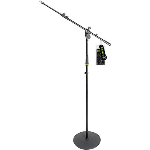 Gravity Stands Microphone Stand With Round Base and 2-Point Adjustment Telescoping Boom