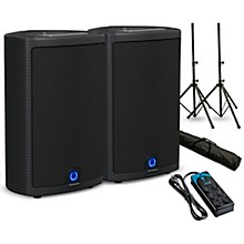 """Turbosound Milan M10 10"""" Powered Speaker Pair with Stands and Power Strip"""