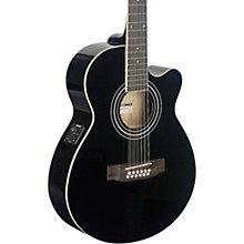 Mini-Jumbo Electro-Acoustic Cutaway 12-String Concert Guitar Black