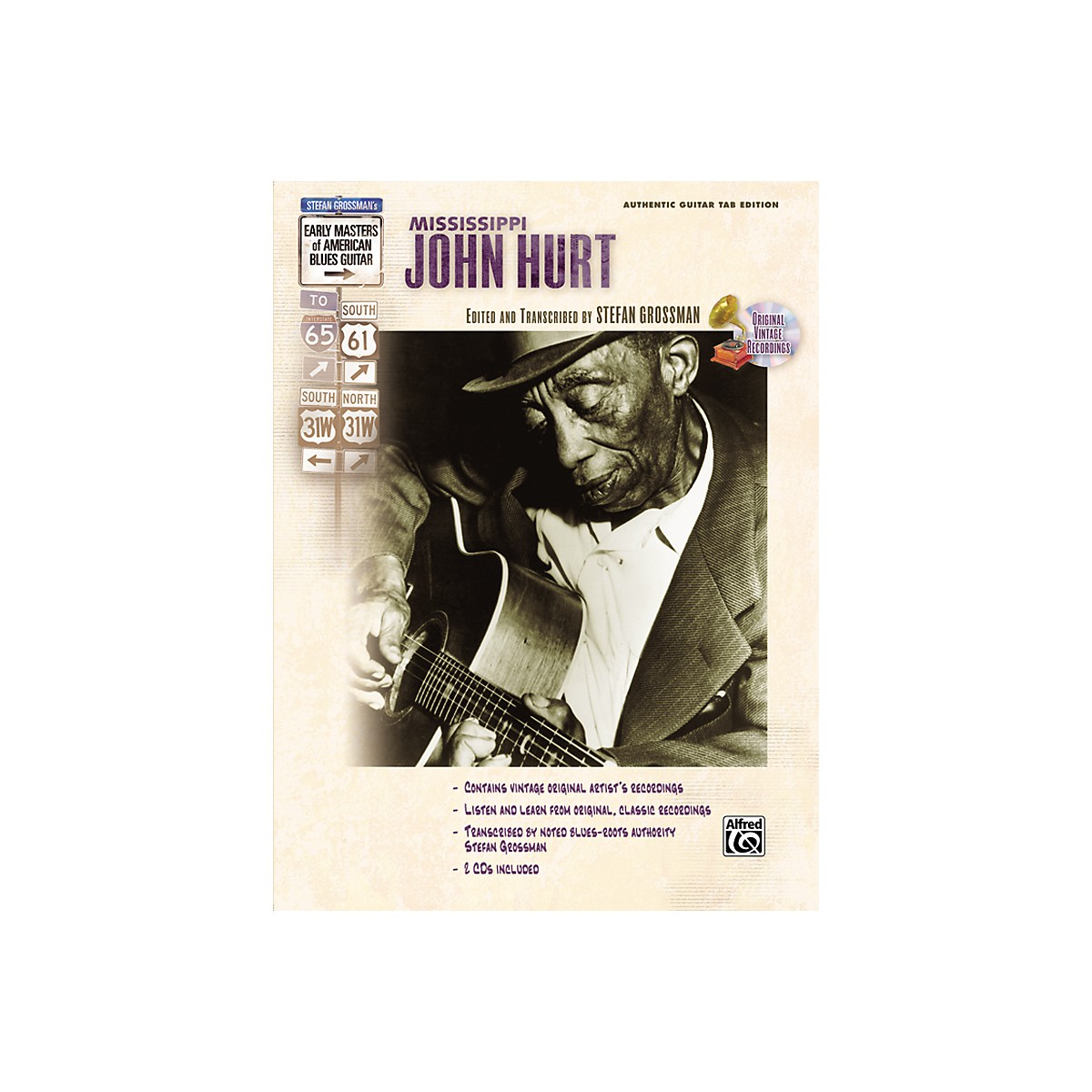 Alfred Mississippi John Hurt Early Masters of American Blues Guitar Book & CD
