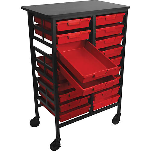 H. Wilson Mobile Work Center with 18 Single Storage Trays
