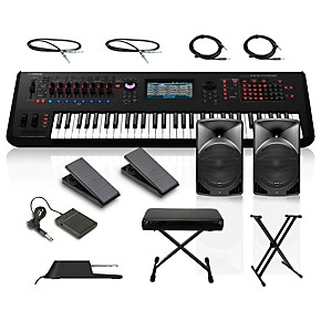 yamaha montage 6 61 key synthesizer with powered speakers stand pedals deluxe keyboard bench and. Black Bedroom Furniture Sets. Home Design Ideas